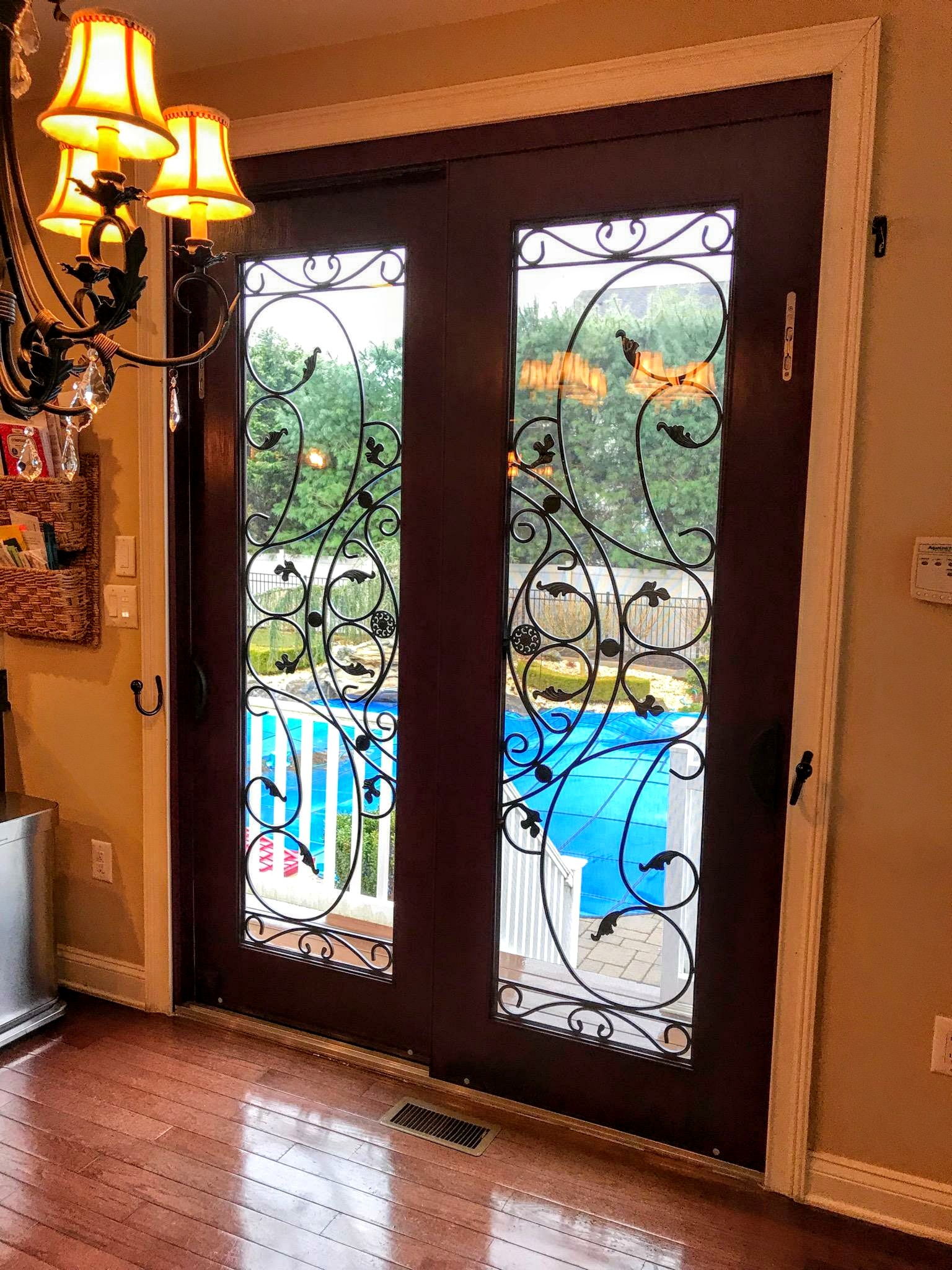 Fine 2 Lite Fiberglass Slider Door With Wrought Iron Decorative Home Interior And Landscaping Pimpapssignezvosmurscom